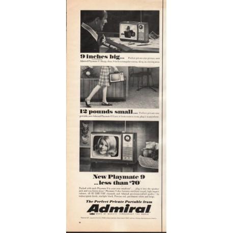 "1966 Admiral Portable TV Ad ""9 inches big"""