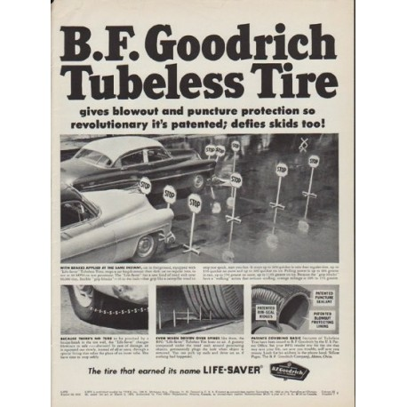 "1952 B.F. Goodrich Ad ""Tubeless Tire"""