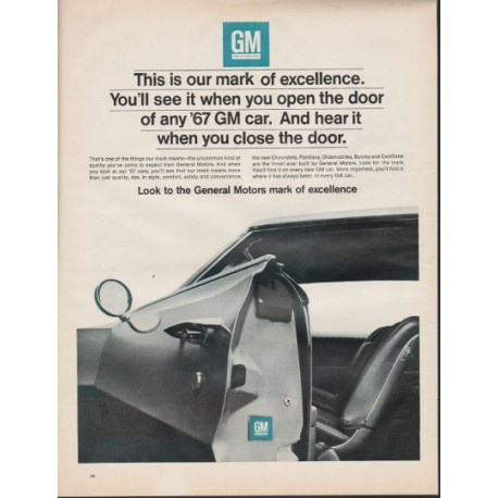"""1967 General Motors Ad """"This is our mark of excellence"""" ~ (model year 1967)"""