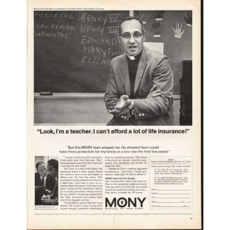 """1966 Mutual of New York Ad """"Look, I'm a teacher"""""""