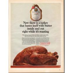 "1966 Armour Golden Star Turkey Ad ""turkey that bastes itself"""