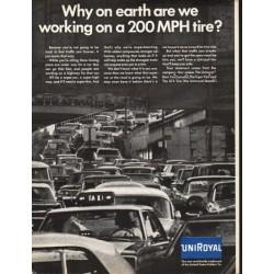 """1966 Uniroyal Tire Ad """"200 MPH tire"""""""