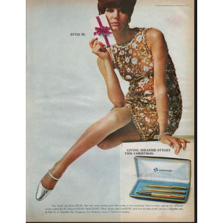"1966 Sheaffer Pens Ad ""Sheaffer Stylist This Christmas"""