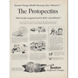 "1952 Sunkist California Oranges Ad ""The Protopectins"""