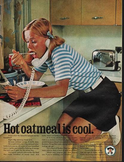 1966 Quaker Oats Vintage Ad Quot Hot Oatmeal Is Cool Quot