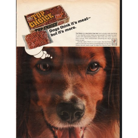 "1966 Top Choice Dog Food Ad ""Dogs think it's meat"""