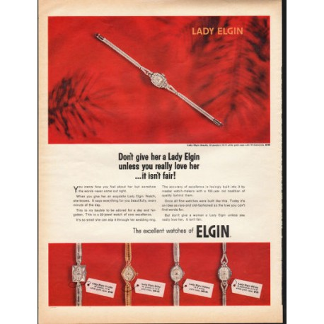 """1966 Elgin Watch Ad """"Lady Elgin ... unless you really love her"""""""