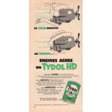 """1953 Tydol Motor Oil Ad """"Engines Agree"""""""