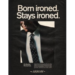 "1966 Arrow Shirt Ad ""Born ironed. Stays ironed."""