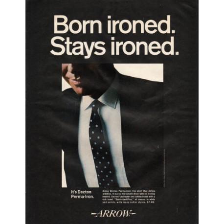 "1966 Arrow Shirt Ad ""Born ironed. Stays ironed."""