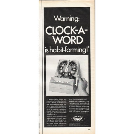 """1966 Clock-A-Word Ad """"habit-forming"""""""