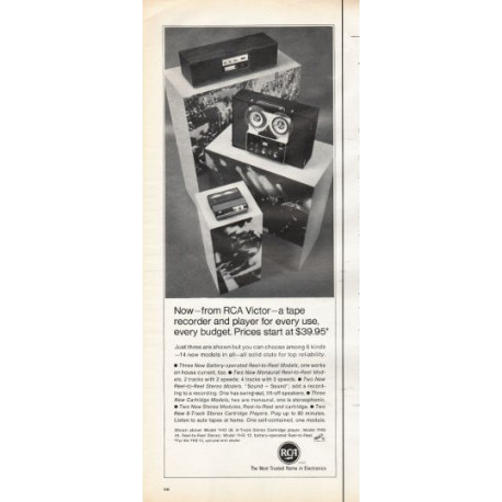 "1966 RCA Victor Electronics Ad ""recorder and player for every use"""
