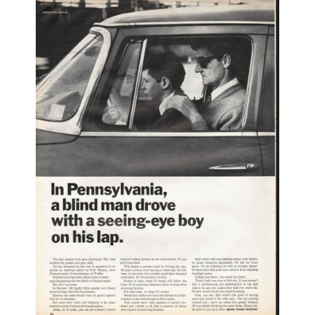 "1966 Better Vision Institute Ad ""blind man drove with a seeing-eye boy"""