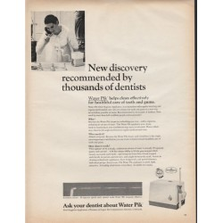 "1966 Water Pik Oral Hygiene Appliance Ad ""New discovery"""