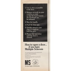 "1966 Multiple Sclerosis Ad ""How to open a door"""