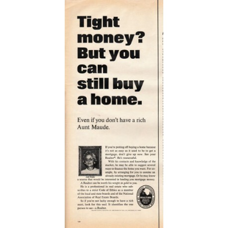 """1966 National Association of Real Estate Boards Ad """"Tight money"""""""