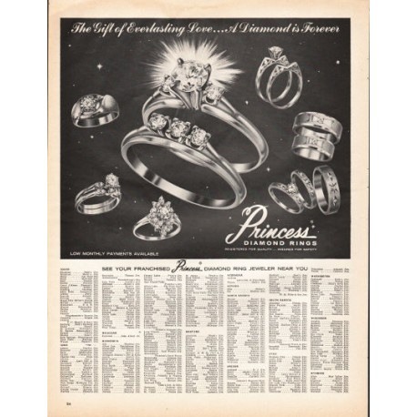 "1966 Princess Diamond Rings Ad ""The Gift of Everlasting Love"""