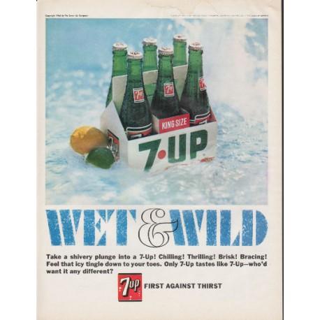 """1966 7-Up Soft Drink Ad """"Wet & Wild"""""""