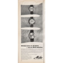"1966 Mido Watch Ad ""Wrists come in all sizes"""