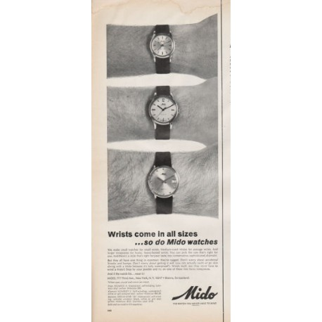 """1966 Mido Watch Ad """"Wrists come in all sizes"""""""