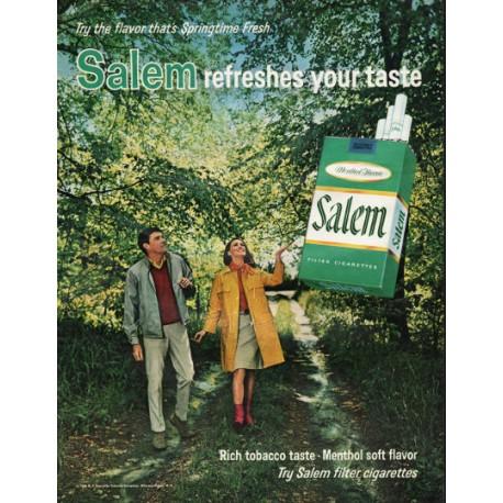"""1966 Salem Cigarettes Ad """"the flavor that's Springtime Fresh"""""""