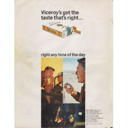 "1966 Viceroy Cigarettes Ad ""the taste that's right"""