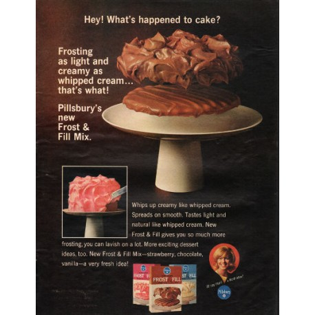 "1966 Pillsbury Frost & Fill Mix Ad ""What's happened"""