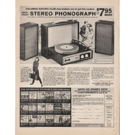 """1966 Columbia Record Club Ad """"Stereo Phonograph"""""""