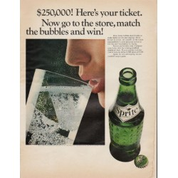 "1966 Sprite Soft Drink Ad ""match the bubbles"""