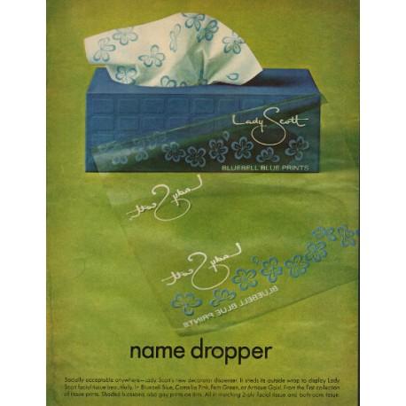"1966 Lady Scott Tissue Paper Ad ""name dropper"""