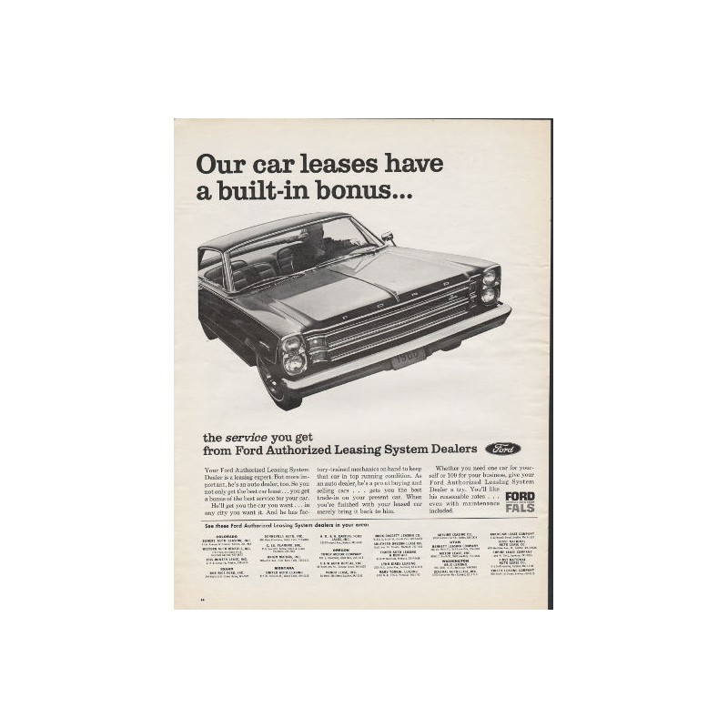 """Ford Leasing: 1966 Ford Authorized Leasing System Vintage Ad """"Our Car"""