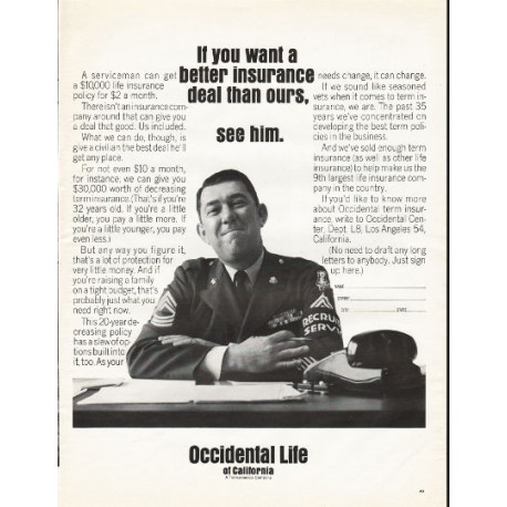 """1966 Occidental Life of California Ad """"better insurance deal"""""""