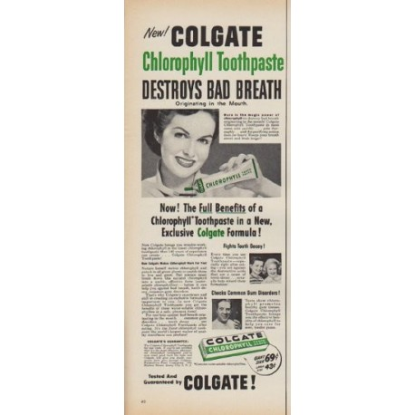 """1952 Colgate Ad """"Chlorophyll Toothpaste"""""""