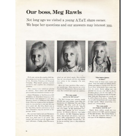 "1966 AT&T Bell System Ad ""Our boss, Meg Rawls"""