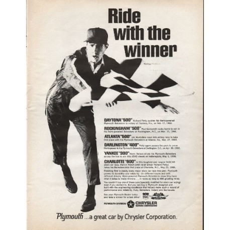 "1966 Chrysler Plymouth Ad ""Ride with the winner"""