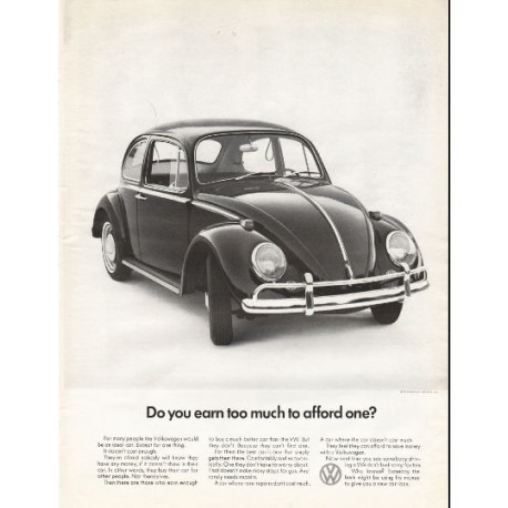 """1966 Volkswagen Ad """"Do you earn too much"""" ~ (model year 1966)"""