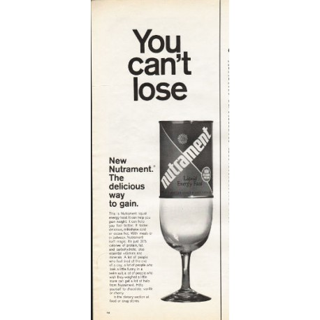 """1966 Nutrament Liquid Energy Food Ad """"You can't lose"""""""