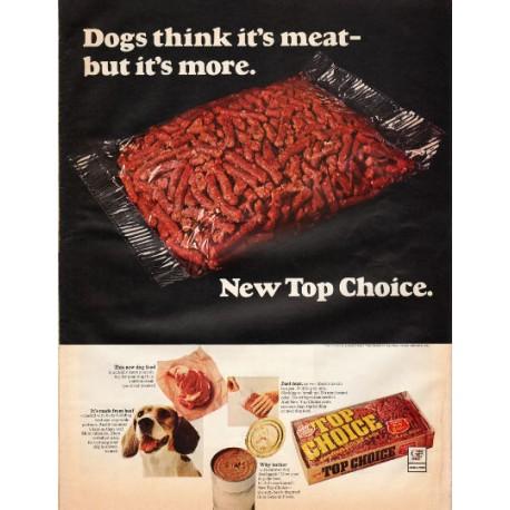 "1966 Top Choice Dog Food Ad ""New Top Choice"""