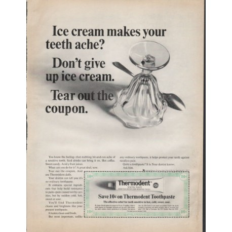 """1966 Thermodent Toothpaste Ad """"Ice cream"""""""