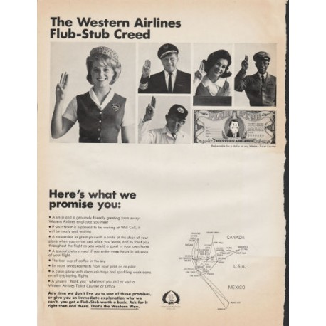 "1966 Western Airlines Ad ""Flub-Stub Creed"""