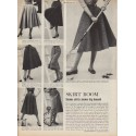 "1952 Sacony skirts and blouses Ad ""Skirt Boom"""
