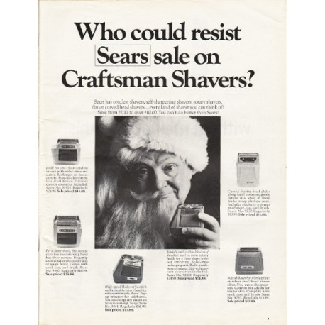 """1967 Sears Craftsman Shavers Ad """"Who could resist"""""""