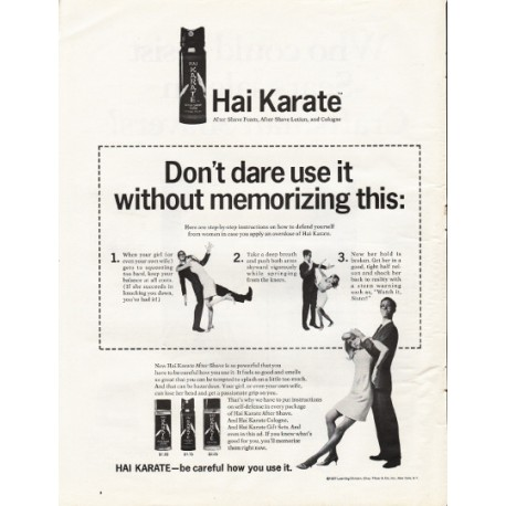 "1967 Hai Karate After Shave Foam Ad ""Don't dare use it"""