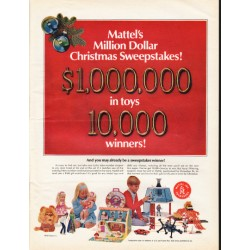 "1967 Mattel Toys Ad ""Million Dollar Christmas Sweepstakes"""