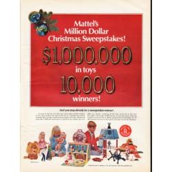 "1967 Mattel Toys Ad ""Million Dollar Christmas Sweepstakes"""