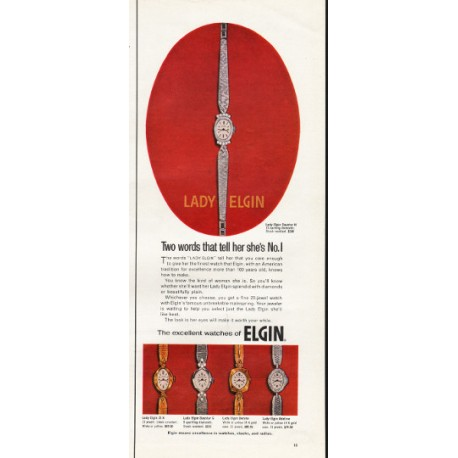 """1967 Lady Elgin Watch Ad """"Two words that tell her she's No. 1"""""""
