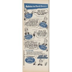 "1952 Ford Parts Ad ""Advice to Ford Owners"""
