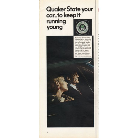 """1967 Quaker State Motor Oil Ad """"to keep it running young"""""""