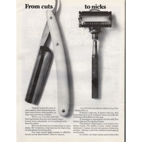 """1967 Remington Safety Shaver Ad """"From cuts - to nicks"""""""