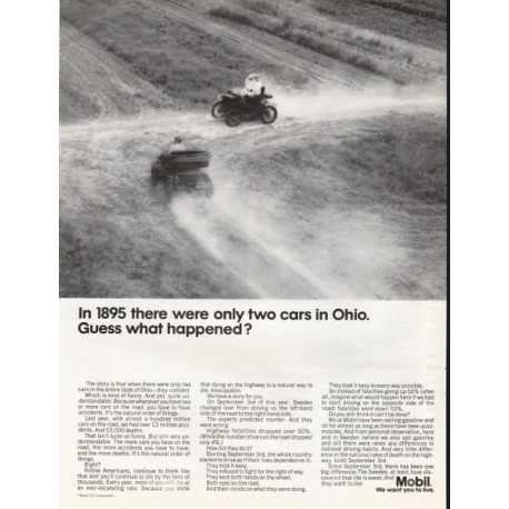 "1967 Mobil Oil Ad ""only two cars in Ohio"""
